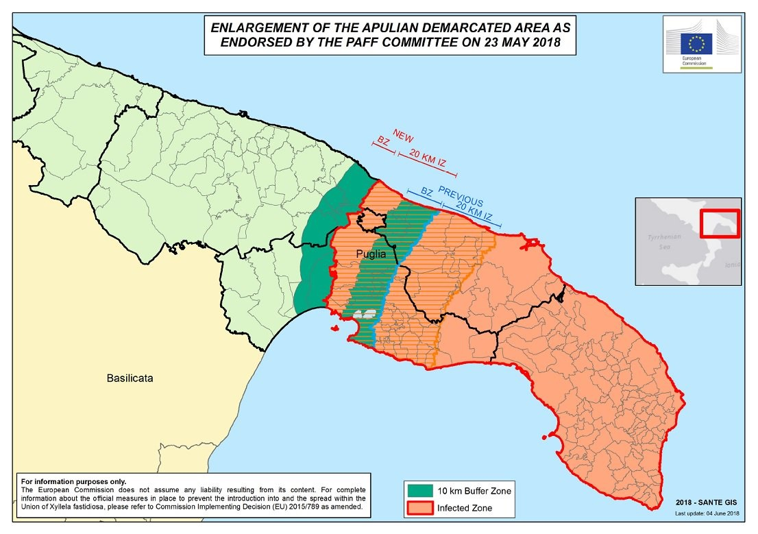 Enlargement of the Apulian demarcated area 23/05/2018