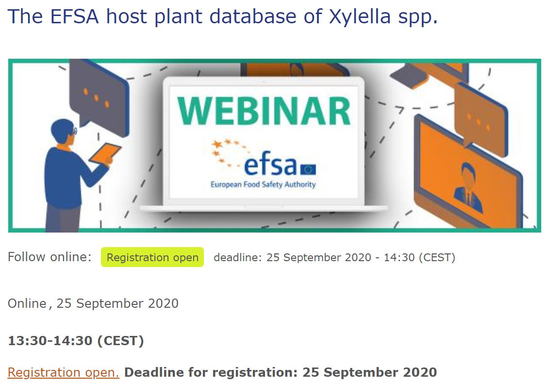 The EFSA host plant database of Xylella spp. | webinar